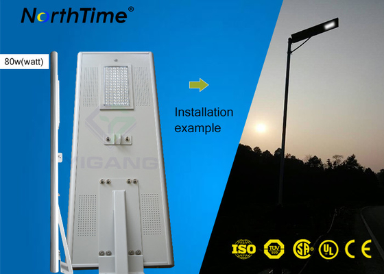 চীন High Lumens Outdoor 80W Solar Powered Street Lights with Lithium Battery & Bridgelux LED Chips সরবরাহকারী